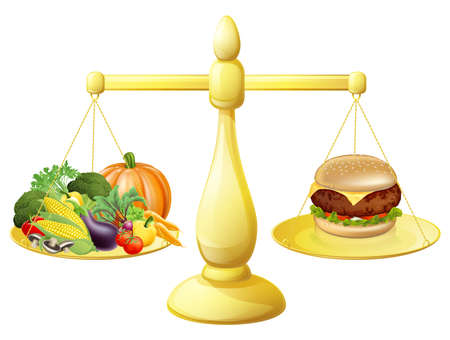 junk: Healthy eating diet decision concept of healthy vegetables on one side of scales and a burger junk food on the other. Could also be for the importance of a balanced diet.