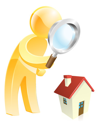 Man scrutinising a house with a magnifying glass, could be looking for a house or doing a home buyers survey Vector