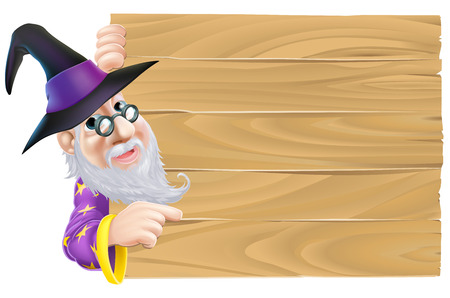 A cartoon wizard pointing a finger at a blank wood sign Vector