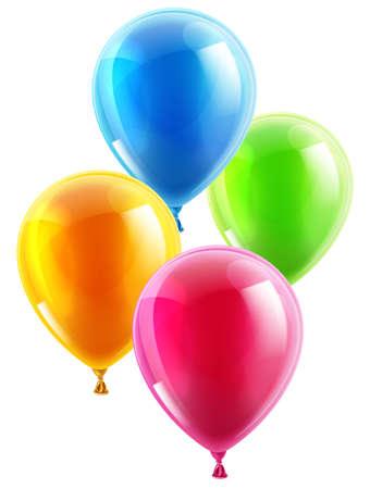 mid air: Un ejemplo de un conjunto de coloridos globos de fiesta de cumplea�os o