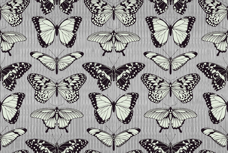 A seamless tiling repeating butterfly pattern background with beautiful butterflies