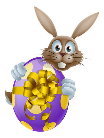 An Easter bunny peeking around a giant chocolate Easter egg Vector