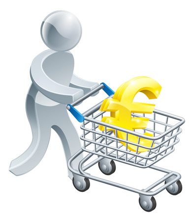 troley: A person pushing a shopping cart or trolley with a large euro sign in it Illustration