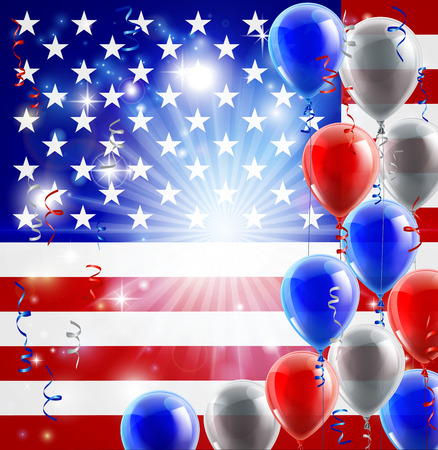A patriotic American USA 4th July or veterans day background with red white and blue party balloons