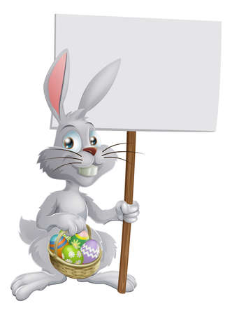 egg hunt: White Easter bunny holding a sign and a basket of chocolate Easter eggs