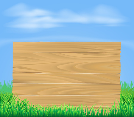A cartoon illustration of a wooden sign in a field Vector