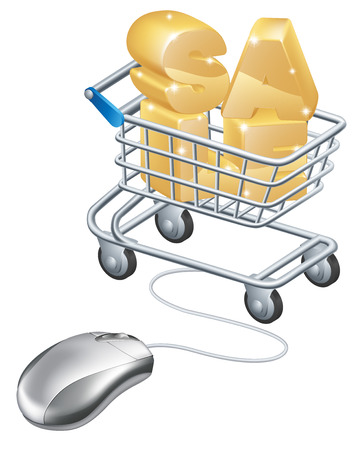 troley: An illustration of a mouse connected to trolley with the word sale in it. Concept for an online internet sale.
