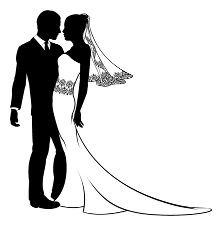 An illustration of a bride and groom in silhouette on their wedding day Vector