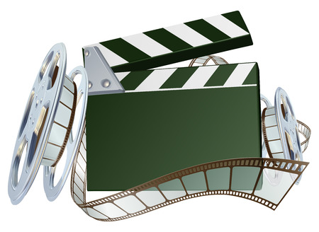 An illustration of a film reel and clapper board with copyspace on the board  Vector
