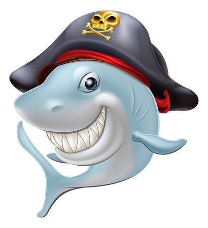 cartoon shark: Una ilustraci�n de un tibur�n lindo pirata de la historieta que lleva un sombrero de la bandera pirata
