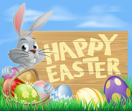 rabit: Easter wood sign in spring field reading Happy Easter with the Easter bunny and decorated Easter eggs Illustration