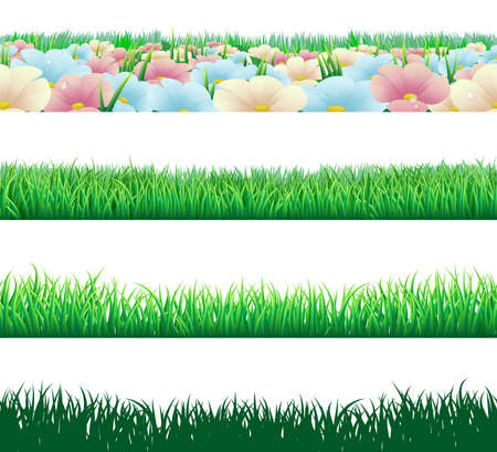 speelveld gras: Een set van naadloze tilable gras en bloemen footer verwaardigen elementen