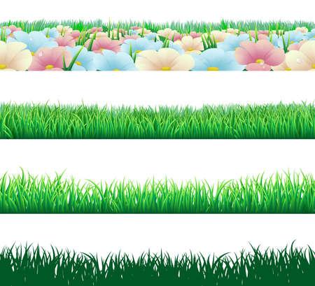 meadow  grass: Un conjunto de hierba perfectamente tilable y flor de pie de p�gina se dign� elementos Vectores