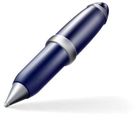 A cartoon blue and silver cartoon pen icon with shadow Vector