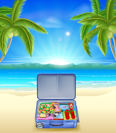 An illustration of a tourists suitcase on a tropical beach with coconut palm trees Vector