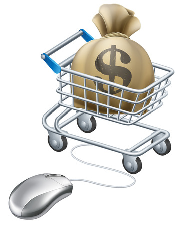 e money: Mouse connected to trolley full of money in a big sack with a dollar symbol on it. Perhaps a concept for rewards for shopping on line like cashback sites.