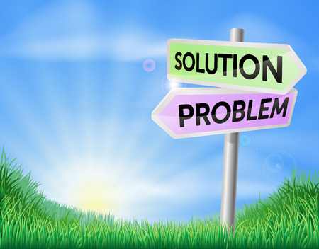 rolling landscape: Problem and solution sign in a sunny green field of lush grass Illustration