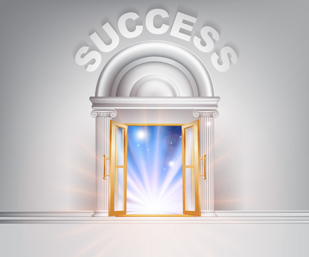 Success door concept of a fantastic white marble door with columns with light streaming through it. Vector