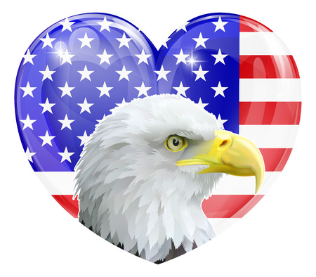 golden eagle: Eagle America love heart concept with and American bald eagle in front of an American flag in the shape of a heart