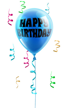 baloons: A shiny blue balloon with the words Happy Birthday written on it Illustration