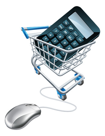Online comparison concept of a computer mouse attached to a trolley with a calculator in it Vector