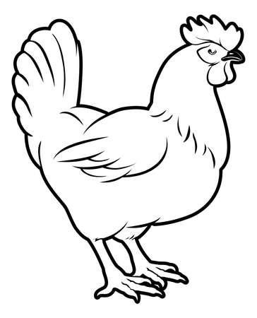 gallina con huevos: Una ilustración de un pollo, podría ser una etiqueta de un alimento o icono del menú para el pollo Vectores