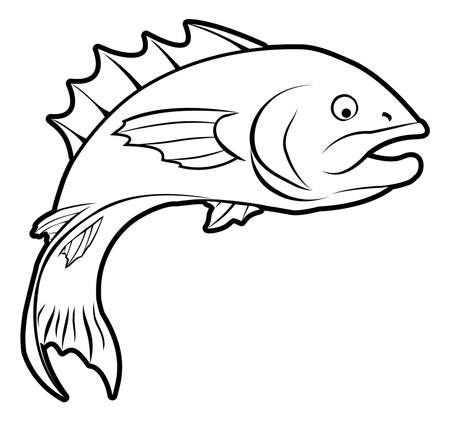 An illustration of a fish, could be a food label or menu icon for fish or seafood Vector