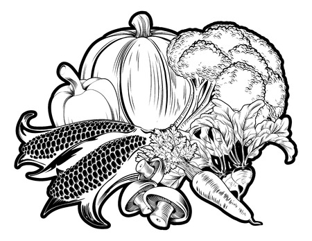 fresh produce: An illustration of vegetables, could be a label for vegetarian options