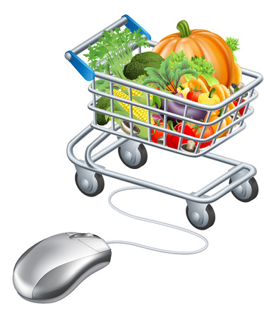 Trolley mouse grocery vegetables concept, perhaps a concept for supermarket shopping for groceries online on the internet Vector