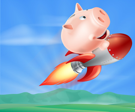 strapped: An illustration of a piggy bank on top of a rocket flying through the air over a landscape