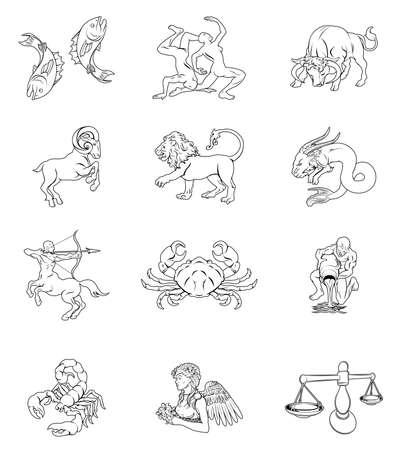 De twaalf astrologie horoscoop tekens van de dierenriem. Waterman Tweelingen Stier Ram Schorpioen Boogschutter Steenbok Vissen Kreeft Leeuw Maagd en Weegschaal