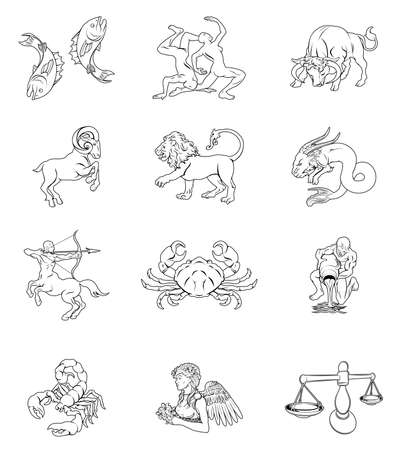 The twelve astrology horoscope signs of the zodiac. Aquarius Gemini Taurus Aries Scorpio Sagittarius Capricorn Pisces Cancer Leo Virgo and Libra  Vector