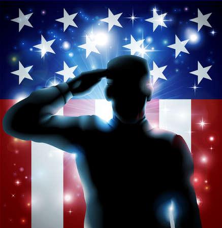 愛国心: 愛国心が強い兵士またはベテランの米国旗の背景の前に敬礼
