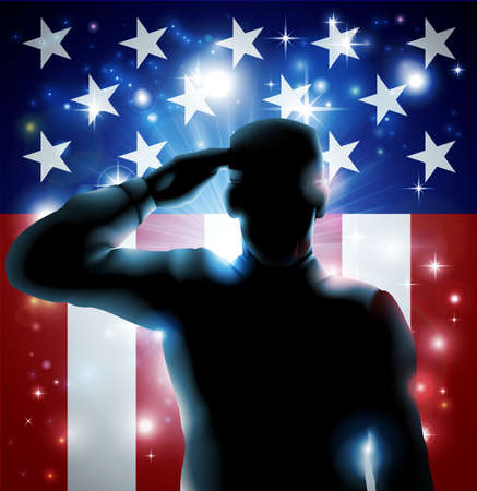 america soldiers: Patriotic soldier or veteran saluting in front of an American flag background