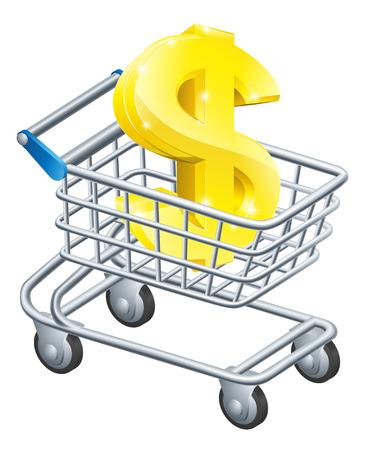 supermarket shopping cart: Concepto carro divisa D�lar de signo de d�lar en un carro de supermercado o carro