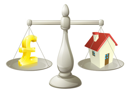 House money Pound scales concept. Pound sign on one side of a scale and a house on the other. Vector