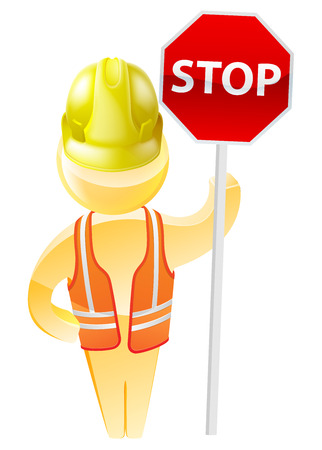 Stop sign construction man with hard hat and hi vis jacket Vector