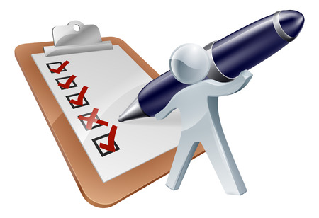 Feedback person and survey with the person completing the form, questionnaire or test with a large pen Vector