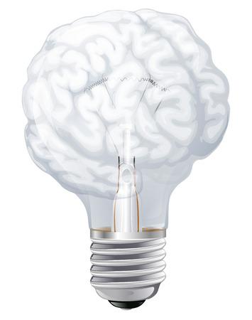 neuroscience: Conceptual illustration of a light bulb shaped like a human brain. Concept for ideas inspiration
