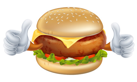 An illustration of a cartoon burger mascot with gloves doing thumbs up Vector