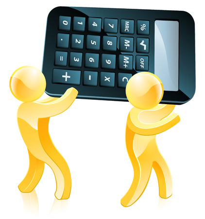 Calculator gold people concept of two 3d men carrying a giant calculator Vector