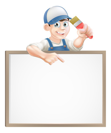 painter and decorator: A painter or decorator holding a paintbrush and peeking over a sign and pointing