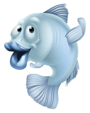 An illustration of a blue cartoon fish character mascot