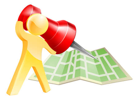 roadmap: Map pin gold person concept of a gold mascot figure about to mark a location on a map with a giant pin