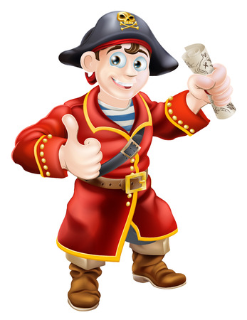 skull and crossed bones: Un pirata de dibujos animados dando un pulgar hacia arriba y sosteniendo un mapa del tesoro Vectores