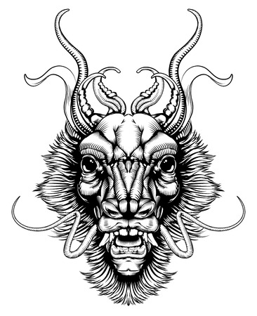 An original illustration of a dragon or monster head in a dynamic woodblock style Illustration