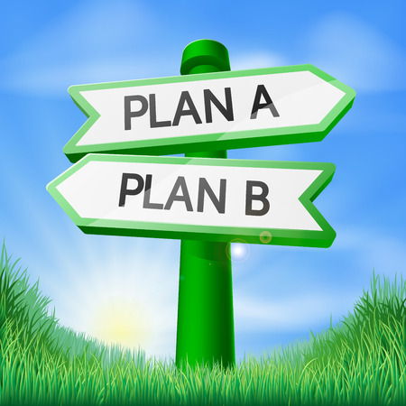 Plan A or Plan B sign concept with a choice to make Vector