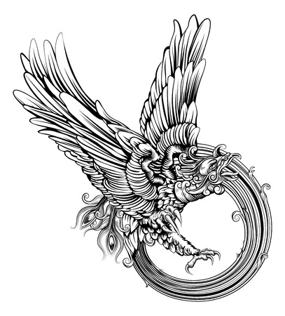 fenix: An original illustration of the legendary phoenix bird or an eagle in a dynamic woodblock style