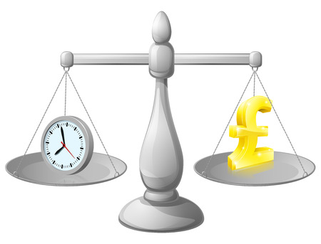 Time and money on balance scales Vector