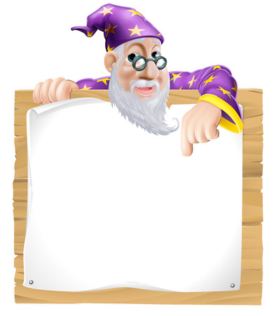 Friendly wizard man with a beard peeking over and pointing at a wooden sign Vector